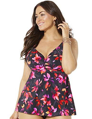 Swimsuits For All Women's Plus Size Bra Sized Sweetheart Underwire Tankini Top 44 G Orange Flowers
