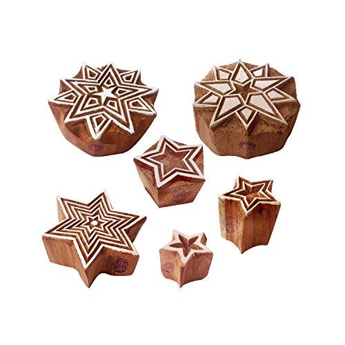Royal Kraft Stoff Holz Stempel Orientalisch Star Runden Muster Druck Blöcke (Set von 6)
