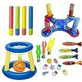 Dance Pig 21 Pcs Pool Toys Set-Inflatable Ring Toss, Floating Basketball Hoop, 4 Water Blaster Guns, 4 Diving Torpedo, 3 Dive Seaweeds, 8 Treasures for Swimming Diving Water Sport Toy