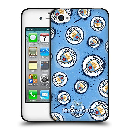 Head Case Designs Offizielle Manchester City Man City FC Logo Moonchester & Moonbeam Schwarze Soft Gel Huelle kompatibel mit Apple iPhone 4 / iPhone 4S