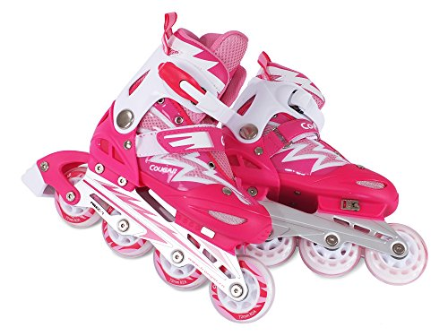 FA Sports Skate Gears Kinder Inline, Patines para Niños, Rosa (girly pink, blanco), M/34-37