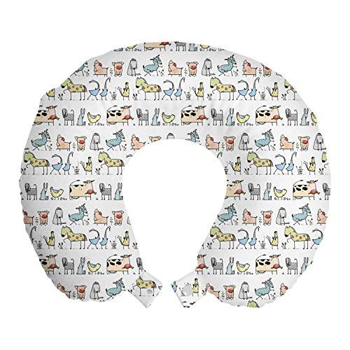 ABAKUHAUS Retro Cojín de Viaje para Soporte de Cuello, Cartoon Village Animales, Cómoda y Práctica Funda Removible Lavable, 30x30 cm, Amarillento Amarillo