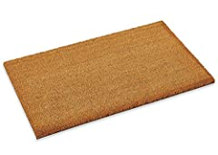 DURABLE AND NATURAL COCO COIR DOORMAT - Natural Coco mat with thick fibers tufted onto a vinyl base makes a perfect entrance mat Mats can easily be cut to get your desired dimensions. Made from tightly woven, natural coconut fiber and durable rubber ...