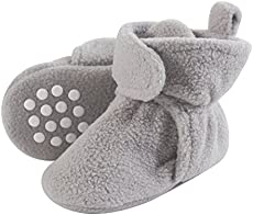 Luvable Friends Unisex Baby Cozy Fleece Booties, Neutral Gray, 0-6 Months