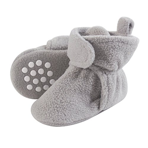 Luvable Friends Baby Cozy Fleece Booties with Non Skid Bottom, Neutral Gray, 0-6 Months