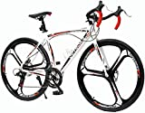 Outroad Road Bike 14 Speed Shimano Shifter 700C Wheel Wheels with Aluminum Alloy Frame, Rider Bike Faster and Lighter Commuter Bicycle Red&White