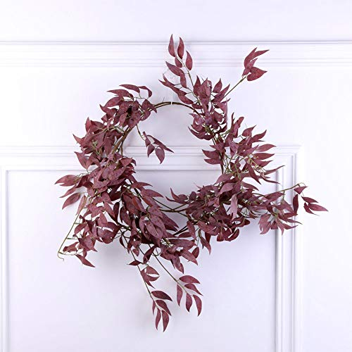 SZMYLED Fake Hanging Garland Vines, Artificial Vines Rattan Fake Plants Wreath Wall Decor for Wedding Party Home Wreath Wall Decoration red