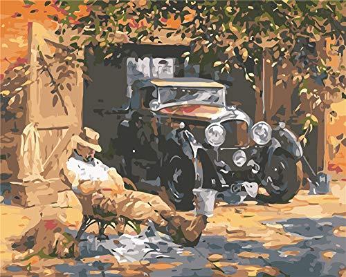 XSDFG DIY Malen Nach Zahlen für Erwachsene 16x20inch Digital Ölgemälde mit Farbe und Pinsel.Geschenk für Home Haus Deko - Oldtimer und Alter Mann(Ohne Rahmen)