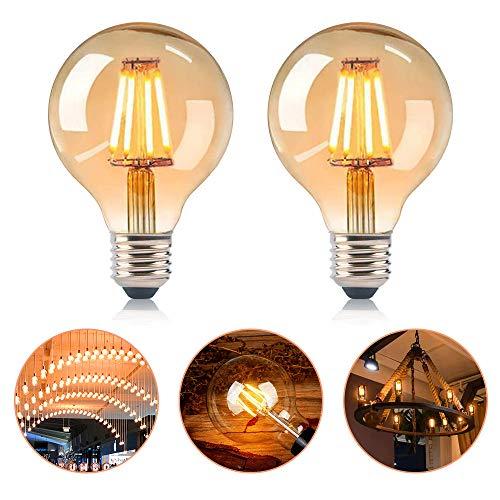 SANBLOGAN Edison Vintage Glühbirne e27,LED Vintage Glühbirne,Globe Vintage G80 Retro Dekorative Glühbirne 4W Ideal für Retro Beleuchtung im Haus Café Bar,Warmweiß Retro Dekorative Glühbirne 2 PCS