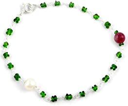 Orchid Jewelry 6.35 Ct Green Beads Chrome Diopside and Ruby 925 Sterling Silver Bracelet for Women: Nickel Free Beautiful and Stylish Birthday Gift for Mother and Wife