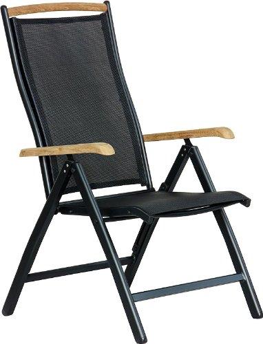 IB-Style® Diplomat Hochlehner | Klappstuhl | Aluminium -Textilen -Teakholz |Mehrfach gewebt | Schwarz