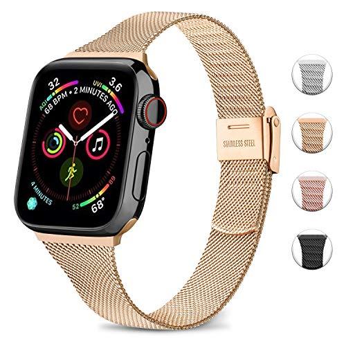 Wanme Kompatibel für Apple Watch Armband 42mm 38mm 40mm 44mm, Ersatzarmband Edelstahl Metall Schnalle Schmales für iWatch Serie 5/4/3/2/1 (04 Roségold, 42mm/44mm)