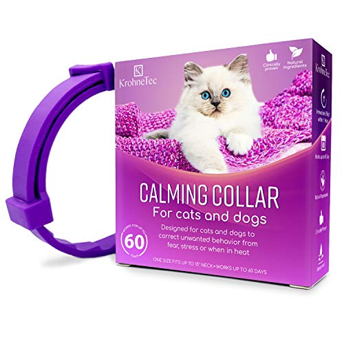 KrohneTec Calming Collar for Cats, Anxiety Relief Cat Collars, Pheromone and Lavender Calming Collar for Dogs, Lasts up…