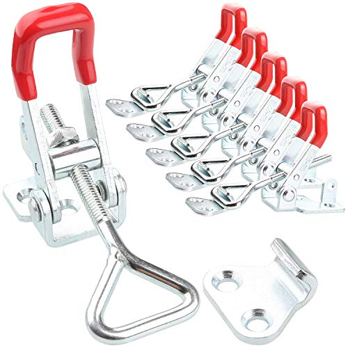 Adjustable Toggle Clamp, 6Pack 551lbs Holding Capacity Heavy Duty Lockable 4002 Style Toggle Latch Hasp Clamp for Door, Box Case Trunk, Lid, Jig. Quick Release Pull Latch, Metal Draw Latch