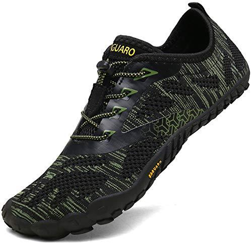 SAGUARO Outdoor Sport Barfußschuhe Damen Traillaufschuhe Herren Fitnessschuhe Atmungsaktive Zehenschuhe rutschfest Trekking Wander Schuhe Grün Gr.42