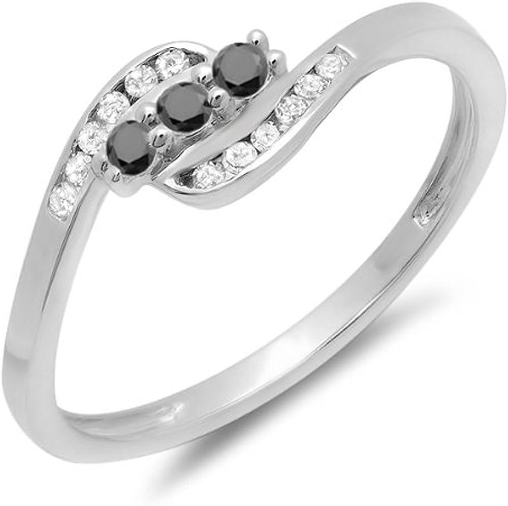 Dazzlingrock Collection 0.25 Carat (ctw) 14K Round Black And White Diamond Ladies Anniversary Promise Wedding Ring, White Gold