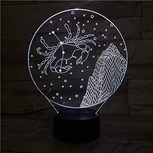 LWJZQT 3d nachtlampje ster kreeft 3D-lamp nachtlampje led multicolor flash vervagen vakantie rekwisieten geschenken voor kinderen meisjes Home Decor