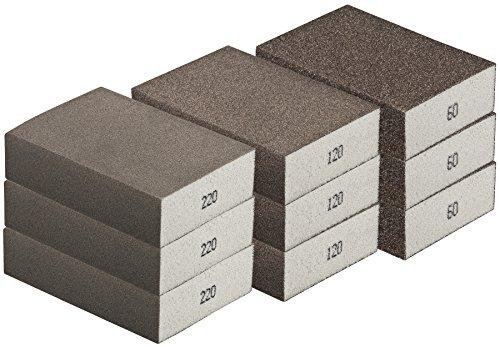 Schleifschwamm-GROB MITTEL FEIN Set 3x3 I Körnung K60 K120 K220 I DIY, Handschleifer für verschiedene Materialien geeignet I hochwertiger Handschleifklotz Schleifklotz, Schleifblock