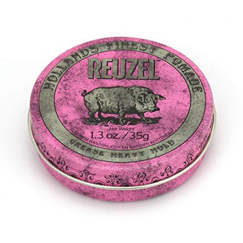 Reuzel - Pink Grease Heavy Hold Pomade - Ölbasiert & Bienenwachs - Spendet Feuchtigkeit & Kontrolle - Starker Halt & mittlerer Glanz - Apfelduft - Perlenfarben - Vegan Free - 1.3 oz/35 g
