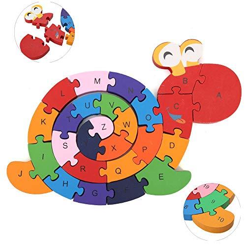 Zahlenpuzzle Holz Schnecke - Holz puzzle Puzzlespiel Pädagigisches Spielzeug für Kinder Zahlenpuzzle Holz Lernspielzeug Intelligenz-Zahlen von 1 bis 26-Buchstaben von A bis Z-Klein-Kinder ab 3 Jahre