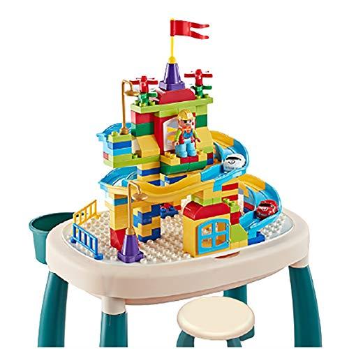 Set di sedie da tavolo per bambini, tavolo da attività in plastica, tavolo multifunzionale 5 in 1 con blocchi a doppia faccia, scrivania da studio per bambini, età adatta 2-8 anni per regalo in matt