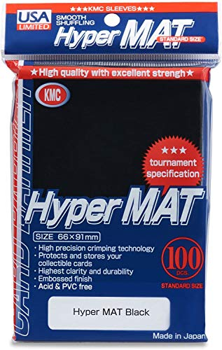 KMC Hyper Matte Black 100-count Standard Size Sleeves Pack [USA Packaging]