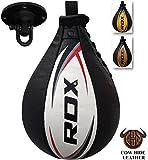 RDX Geschwindigkeitsball Leder Boxen Drehkugellagerung Stanzen Dodge Boxbirne Set Drehwirbel Punchingbälle Swivel Workout Speedball (MEHRWEG)