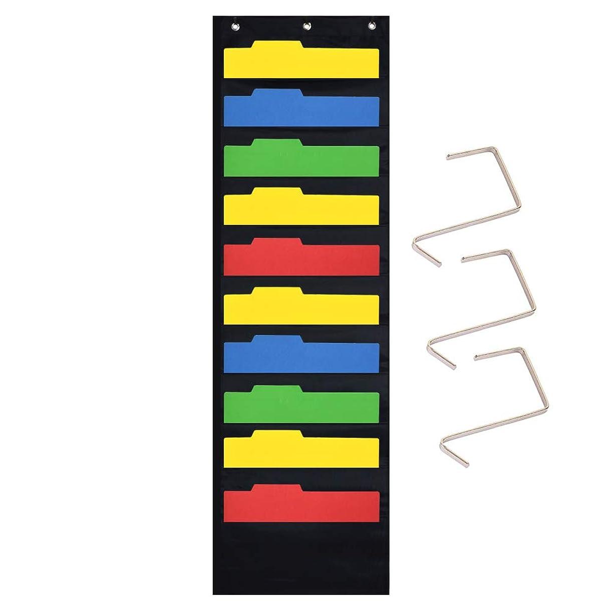 Vnom壁& Overドアマウントストレージポケットチャート、カスケード壁ファイルオーガナイザーファブリック?–?教室、学校、オフィスやホーム使用