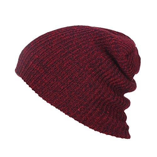 VORCOOL Hommes Bonnets Chapeau en Coton (Vin Rouge)