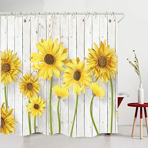 WODEJIA Wasserdichter Stoff-Duschvorhang mit Sonnenblumen-Motiv, weiß, Holzbrettdruck, für Badewanne & Badezimmer, 180 x 183 cm