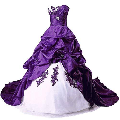 Zorayi Damen Elegante A-Linie Schn/ürung Stickerei Satin Brautkleid Hochzeitskleider