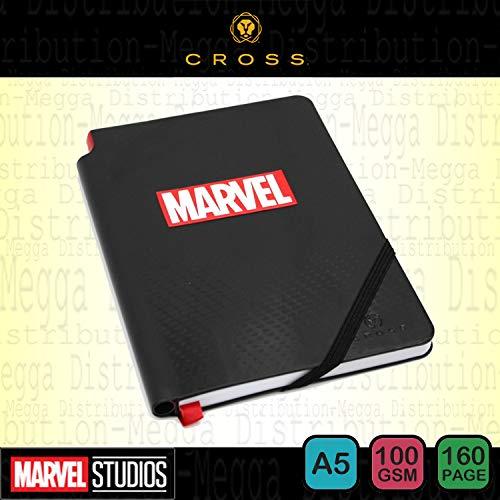 Marvel, diario/quaderno Cross Jotzone, a righe, di alta qualità, formato A5, 160 pagine, 100 g/m², con chiusura con elastico, tasca interna, segnalibro a nastro e porta penna