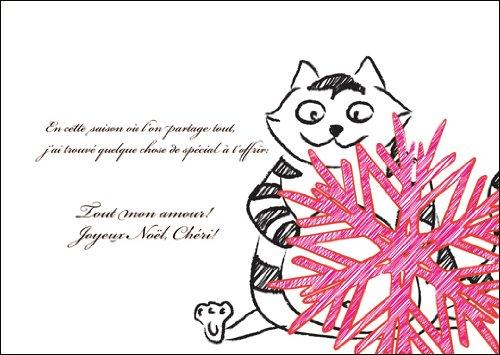 5 stuks grappige Franse kerstkaart met kat en kerstster voor hem: En cette seizoen où l'on partage tout. • Kerstwenskaarten set met enveloppen voor Kerstmis