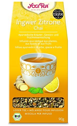 Yogi Tea 10x Ingwer Zitrone chai loser bio Yogi Tee I ayurvedische Gewürzteemischung mit Minze Hibiskus uvm. I Kräuter Früchte Tee lose 10x 90 g