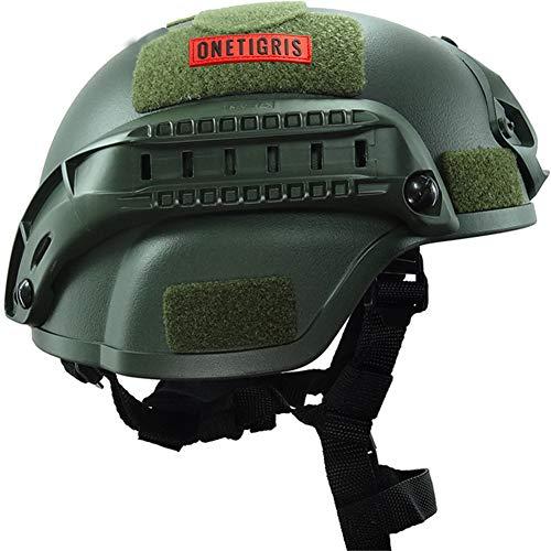 Casco Táctico de Combate del Ejército, Protector de Cabeza de Airsoft Militar Ajustable Estilo 2000, con Riel Lateral de Montaje NVG, para Protección de Cabeza de Caza de Campo CS,Verde