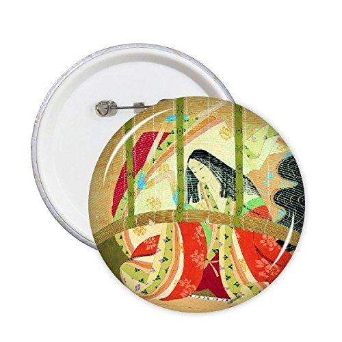 DIYthinker Traditionele Japanse Stijl Ukiyoe Vrouwelijke Bamboe Gordijn Aangepaste Kimono Japan Kunst Schilderen Ronde Pinnen Badge Knop Kleding Decoratie 5 Stks M