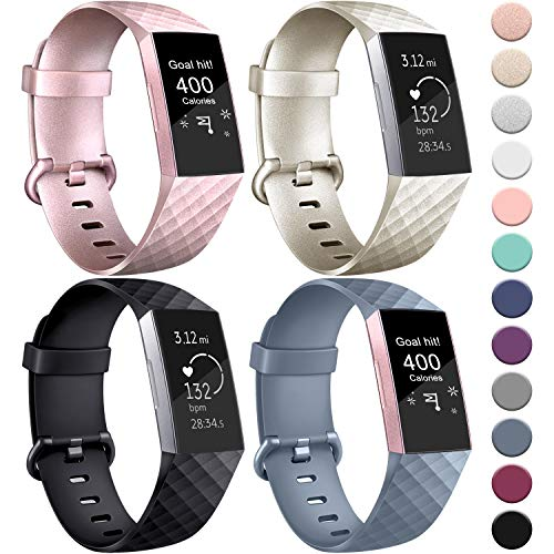 AK Kompatible Für Fitbit Charge 3 Armband/Fitbit Charge 4 Armband, Klassisch Sport Verstellbares Ersatz Armbänder für Fitbit Charge 3/Fitbit Charge 4 (4-Pack Rose Gold+Gold+Blue Grey+Black, S)