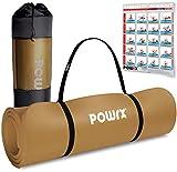POWRX Gymnastikmatte I Yoga-Matte inkl. Trageband + Tasche + GRATIS Übungsposter I Hautfreundliche Sportmatte Fitnessmatte rutschfest Phthalatfrei 190 x 60, 80 oder 100 x 1.5 cm I versch. Farben