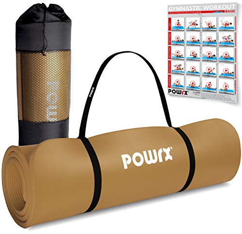 POWRX Colchoneta Fitness Antideslizante 190 X 60 X 1,5 Cm - Esterilla Extra Suave Ideal Para Yoga, Pilates Y Ginnasia - Ecológica Con Cinta Para Transporte Y Funda + Poster (Marrón)