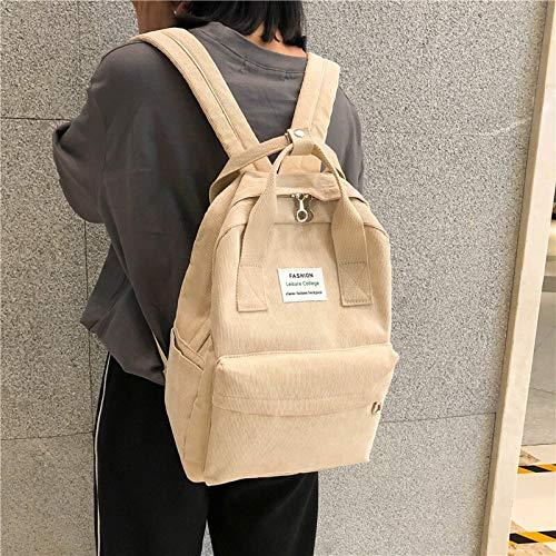 DEMXYA Bolsos de Hombro Nueva Tendencia Femenina Mochila Moda Mujeres College School Mochila de Viaje Mochila Harajuku for Adolescentes 2020 (Color : Beige bagpack, Size : 36CMx27CMx11CM)