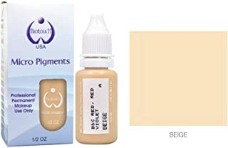 BIOTOUCH Micropigment BEIGE Pigment Color Permanent Makeup Microblading Supplies Eyebrow Shading Micropigmentation Cosmetic Tattoo Ink Lip Eyeliner Ombre Feathering Hair Stroke LARGE Bottle 15ml