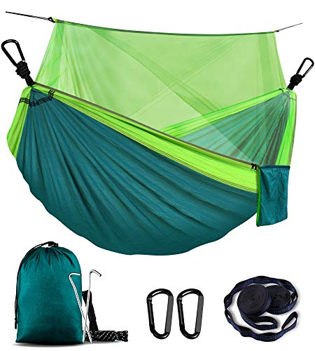 WOVUU Camping Hammock with Net,Lightweight Outdoor Indoor Portable Hammock with Tree Straps,Carabiners,Durable Parachute Nylon Hammocks for Travel Backpacking Hiking Fishing Adventures (Green)