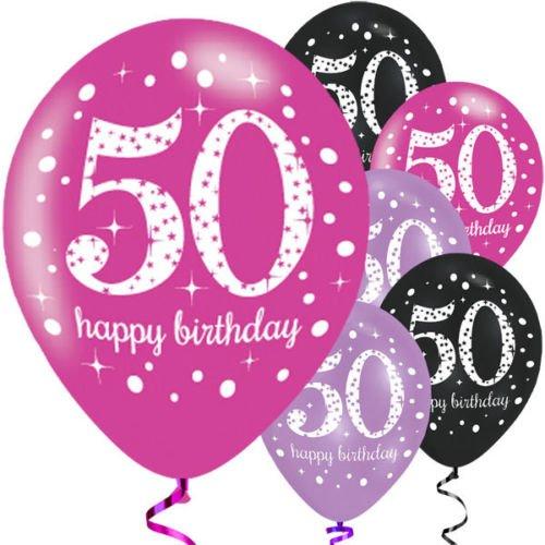 Feste Feiern Luftballon Set zum 50. Geburtstag, 50ter Geburtstag Deko Mann Frau, Pink Schwarz Lila metallic 6 Stück Zahlenballon 50 Happy Birthday Jubiläum