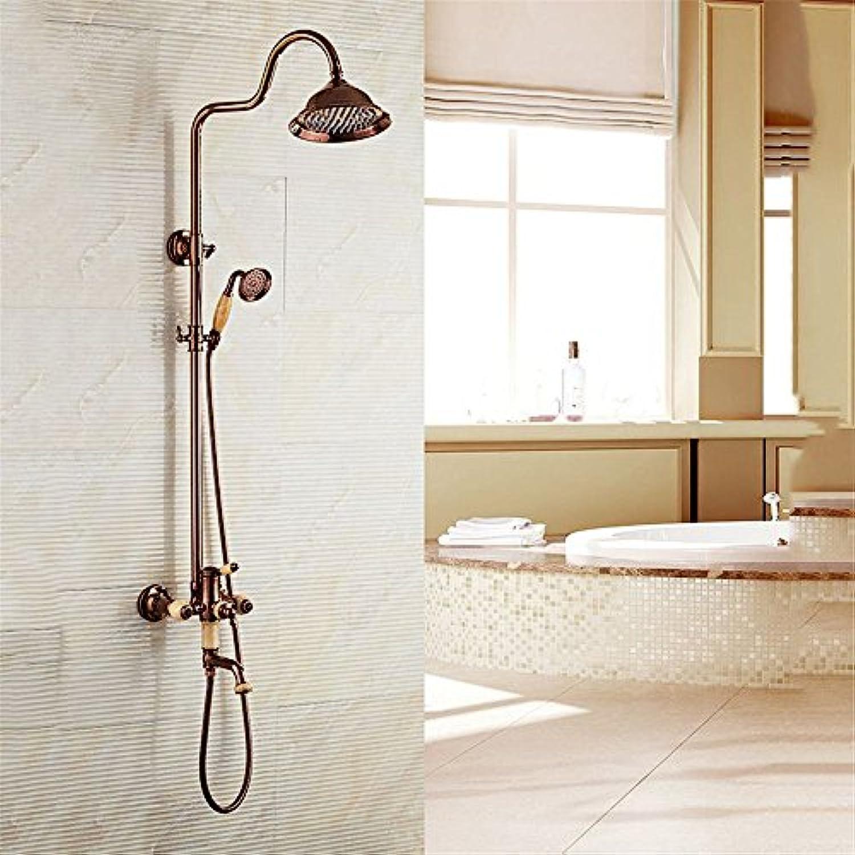 ETERNAL QUALITY Badezimmer Waschbecken Wasserhahn Messing Hahn Waschraum Mischer Mischbatterie Tippen Sie auf Luxus antiken Dusche Wasserhahn Kit voll Kupfer an der Wand