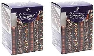 caramel wrapped chocolate pretzel rods