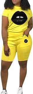 JURIS Women's 2 Piece Tracksuits Lips Print Short Sleeve T-Shirt Top Shorts Set Outfits