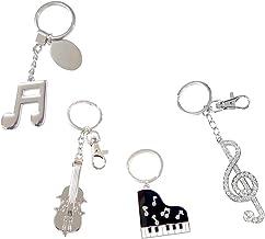 キーホルダー ピアノ バイオリン ト音記号 音符 かわいい (4個セット, ピアノ + バイオリン + ト音記号 + 16分音符)