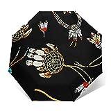 Ombrello Portatile Automatico Antivento, Ombrello Pieghevole Compatto, Folding Umbrella, Baldacchino Rinforzato, Impugnatura Ergonomica, Perline di gioielli occidentali
