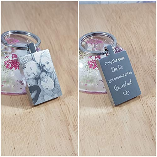 Fathers Day Personalised photo Gift, Engraved Photo Keyring - Double Sided Engraving, Free Gift Bag and UK P&P