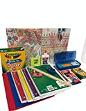 Elementary School Essentials Back to School Supplies Kit Bundle- Grades 1-4 Folders Notebooks Pencils Glue Sticks Markers Ruler Scissors Erasers Fun Henna Tattoo Gold Over Artsy Print Folders